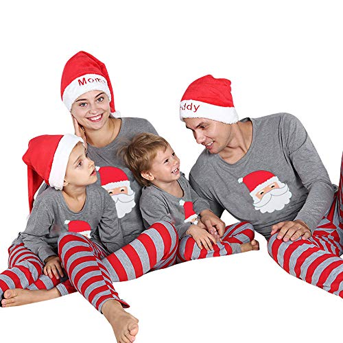 Weihnachten Schlafanzug Familien Outfit Mutter Vater Kind Baby Pajama Langarm Nachtwäsche Santa Print Sleepwear Casual Xmas Rundkragen Festival T Shirt Langarmshirt Oberteile Top Gestreift Hose ()