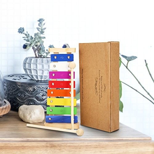 Xylophone Child - NASUM Wooden Toy Children's Musical Instrument Toy, Best Holiday/Birthday DIY Gift for Your Mini Musicians, with Bright Coloured Keys, Child Safe Wooden Beater and Paper Box