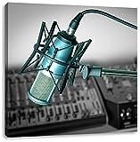 Mikrofon mit Musikanlagen Schwarz/Weiß, Format: 60x60 auf Leinwand, XXL riesige Bilder fertig gerahmt mit Keilrahmen, Kunstdruck auf Wandbild mit Rahmen, günstiger als Gemälde oder Ölbild, kein Poster oder Plakat
