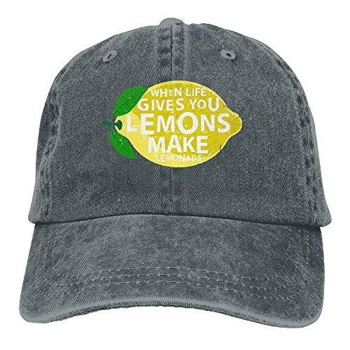 Hoswee Unisex Kappe/Baseballkappe, Life Gives You Lemons, Make Lemonade Retro Adjustable Baseball Caps Denim Sun Hat