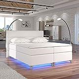Moebel89 Boxspringbett Amadeo in weiß mit LED, Farbe wie abgebildet 180cm x 200cm/Bett, Doppelbett, Hotelbett, Gästebett als Boxspringbett mit Federkern mit Schaumpolsterung