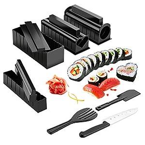 Sushi Maker Kit, AGPTEK 10 tlg Komplett Sushi Making Kit, 5 Formen DIY Selber Sushi Machen Set mit hochwertigem Sushi Messer, Perfekt für Sushi DIY auch als Geschenk -