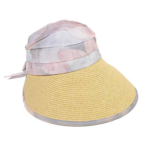 SUNPRUVT Sommerfrauen neuen leeren Hut, Candy Farbe große einstellbare Sonnencreme Strand Hut, Ingwer_54-58cm
