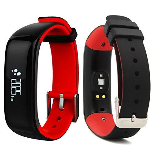 """ROGUCI 0.86 """"OLED Fitness Armband Tracker Uhr Handgelenk,Smartband mit Puls-und Blutdruck Monitor Armbanduhr,Anruf / SMS Benachrichtigung Smartwatch Bänder mit Handy von Schlafüberwachung und Kalorienverbrauch,Android 4.3,IOS 8.0 oder höher (Rot-0.86)"""