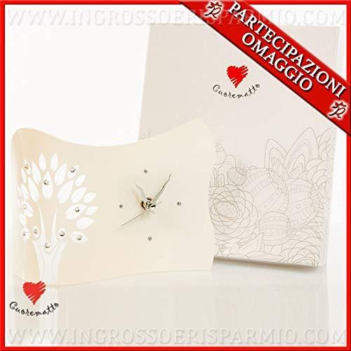 Ingrosso e risparmio cuorematto - orologio da tavolo in vetro bianco e albero della vita con strass, bomboniere di qualità matrimonio, comunione, con scatola regalo inclusa (con confezione arancione)