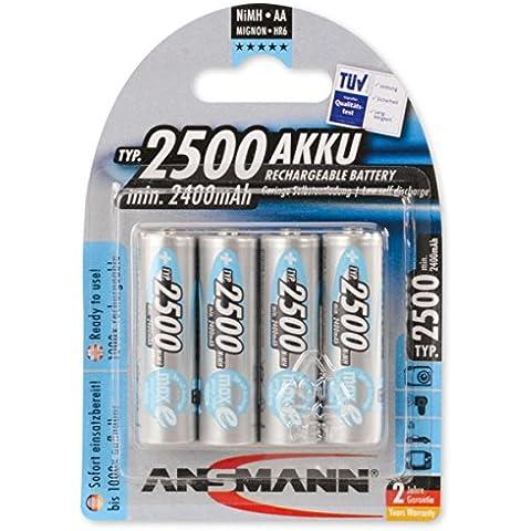 Ansmann 5035442 - Pack de 4 pilas recargables (NiMH, maxE+, Mignon AA, tipo 2500 mAh), gris