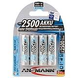 ANSMANN Mignon AA Akku 2500mAh maxE geringe Selbstentladung NiMH vorgeladene Akkubatterie (4er Pack)