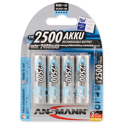 ANSMANN 5035442 Maxe Batteria Power Precaricata a Bassa Autoscarica (2500Mah, Mignon Aa, 4Pz)