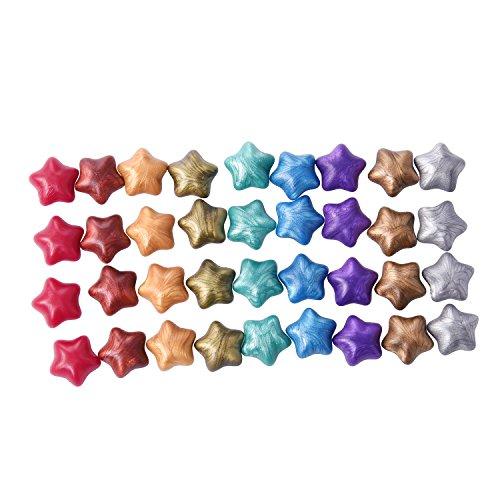 140 Stück Sternförmig Siegellack Perlen mit 1 Stück Wachs Schmelzen Löffel und 2 Stück Kerzen, 9 Farben