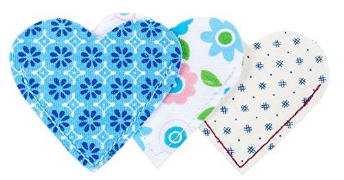 Lesezeichen/Bookmark/Buchzeichen aus Stoff 3er Set Blumen Muster Blau Weiß Türkis Bunt 6,5 x 5,5 cm Fairtrade Ringelsuse