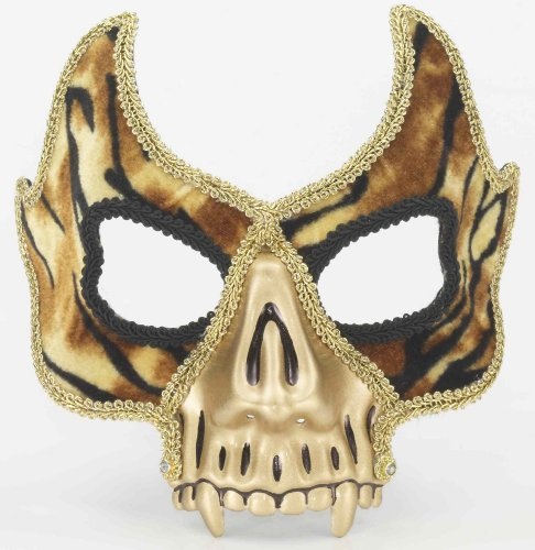KULTFAKTOR GmbH Venezianische Maske mit Tiger-Muster und Zähnen Gold-braun-schwarz Einheitsgröße
