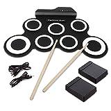Tambor Electrónico, Almohadilla Portátil Roll Up Drum Pad Kits Instrumento De Práctica De Entretenimiento Musical Plegable Con 2 Pedales Y Palos De Tambor Para Principiantes Y Niños (Batería No Incluida)