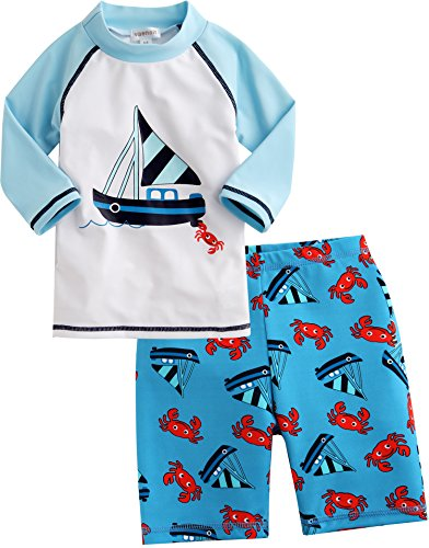 Vaenait Baby Boys 110-122 Short Sleeve Swimsuit Swim Trunks 2 Pieces Set Yocht XL (Trunks Swim Sun)