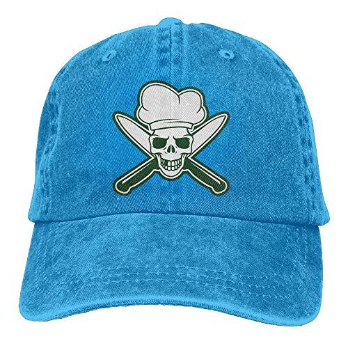 Xdevrbk Cappellino da Baseball da Uomo Regolabile in Cotone Elasticizzato con Cappello da Uomo in Denim Nero Skull Chef Unisex1