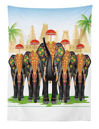 ABAKUHAUS Étnico Tapiz de Pared y Cubrecama Suave, Elefantes en Vestimenta Tradicionale con Sombrillas Ceremonia Étnica Ritual Gráfico, Decoración Versátil, 110 x 150 cm
