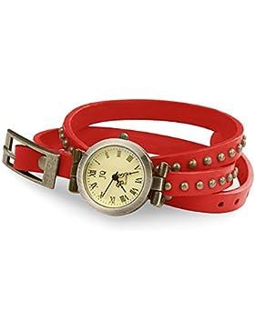 Taffstyle® Damen Leder Analog Wickelarmband Uhr Vintage Armbanduhr Designer Wickeluhr Damenarmbanduhr Analoguhr...