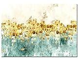 Maison Artwork Ungerahmt Moderne Gold Tanzen Sterne Abstrakte Leinwandd Malerei Wanddekoration HD Wasserdichte Leinwand Landschaft Wandkunst Für Wohnzimmer (70x105cm, BO020)