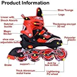 Tavakkal® Combo of Roller Scates and Inline Skates Size Adjustable All Pure PU Wheels it has Aluminum-Alloy which is Strong with LED Flash Light on Wheels Skate