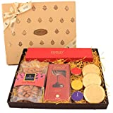 ZOROY LUXURY CHOCOLATE Small Boxed Diwali Gift Hamper Of Chocolate, Cookies, Dry Fruit And Candle - 1000 Gms