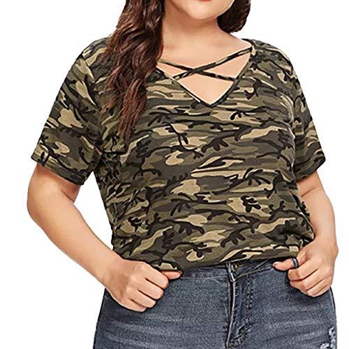 gsgeschenkTops Für Damen Sommer Täglich Lässiger V-Ausschnitt Plus Size Bluse Tarnen Aushöhlen Persönlichkeit T-Shirts Lose Weste XL-5XL(Grün,XL) ()