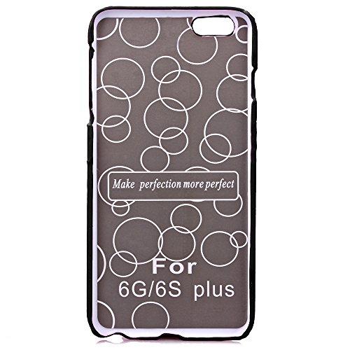 Etsue Housse Etui pour iPhone 6S Plus,Floral Série Solide Couleur Protecteur Hard Shell Case Coque pour iPhone 6 Plus,Cartes Slots Retour Housse avec Kickstand pour iPhone 6 Plus/6S Plus 5.5 pouces 1x Noir