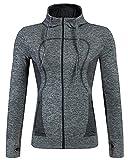 YiJee Damen Jacke Sportjacke Laufjacke Fitnessjacke Funktionsshirt Yoga Grau L