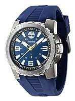 Reloj de cuarzo para hombres con esfera azul y correa azul de silicona azul de Timberland