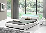 Modern Italian Designer Bed Frame Upholstered in Faux Leather LED Double or King by Limitless Base (White, Double)