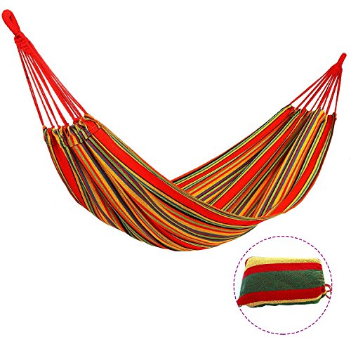 Hamaca de Algodón Cherbell Hamaca Portátil de Algodón, Hamaca Para Exterior, Jardín, Playa, Viajes, 200*80 cm