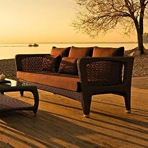 Altea 3er Sofa mit Niedrigem Rücken von Varaschin R D Und Farbe: Bronze-Kissen: Piper Aurora