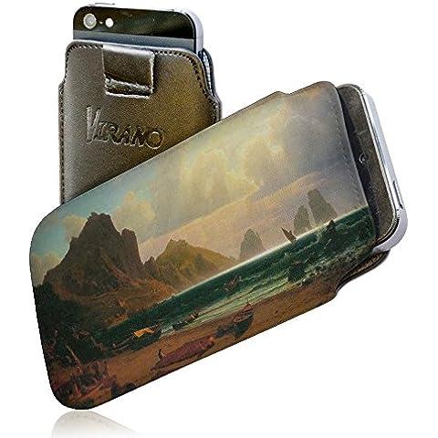 Bierstadt - Marina Piccola Capri, Negro Carcasa Funda de Piel PU Cuero Leather Flip Wallet Pouch Caso Tire de la correa con Diseño Colorido con Textura en Relieve para Nokia Lumia 1520.