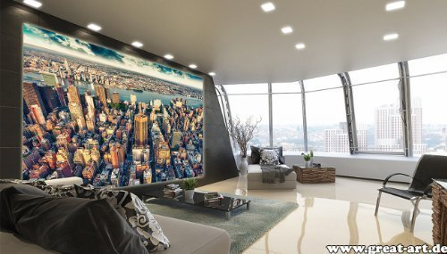 Fototapete New York Skyline in der Dämmerung Wand-dekoration - Wandbild Metropole Poster-Motiv by GREAT ART (210 x 140 cm)
