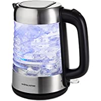 Andrew James Clear Glass Rapid Fast Boil Kettle | 1.7L Electric Cordless Blue Illuminated LED Jug with Swivel Base Flip Top Lid Removable & Reusable Filter | 3000W