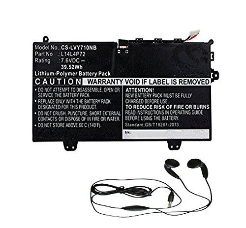 Preisvergleich Produktbild amsahr LENL14L4P72-03 Ersatz Batterie für Lenovo L14L4P72,  Lenovo Yoga 700 (7.6V,  5265mAh,  40Wh,  Umfassen Stereo Ohrhörer) schwarz