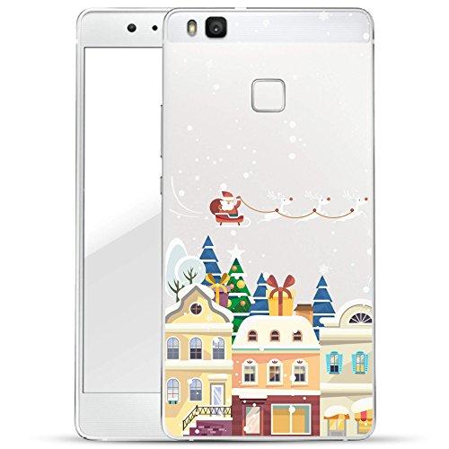 Finoo Huawei P9 Lite Hard Case Handy-Hülle Weihnachten Motiv   dünne stoßfeste Schutz-Cover Tasche mit lizensiertem Muster   Premium Case für Dein Smartphone  Santa über Stadt Weihnachten Hard Case