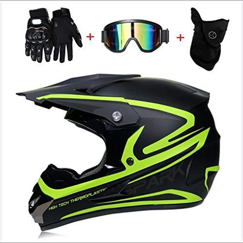 Yunyisujiao Motocrosshelm für Erwachsene und Motocross MX für Erwachsene (Games, Brillen, Maske, 4-teiliges Set), Kunststoff, L(56, 57CM)