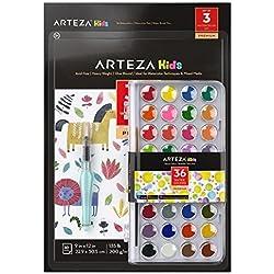 ARTEZA Kids Juego de acuarelas y pinceles para niños | Estuche de 36 colores | Incluye pincel de agua y 30 hojas para pintar acuarelas