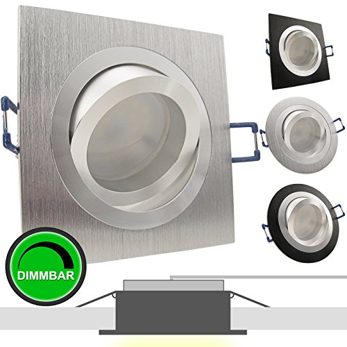 1er Set 230V LED Decken Einbaustrahler NOBLE 1 Alu Silber (eckig); Modul 5W = 50W; DIMMBAR; Warm-Weiß (2700k); nur 35 mm Einbautiefe; Einbauleuchte; schwenkbar; quadratisch