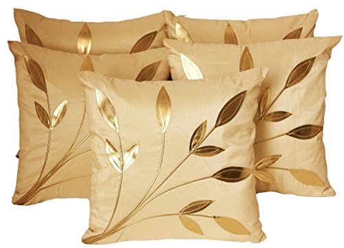 Czar Home Cream Beige Golden Leaves Cushion Covers 16X16 Set Of 5