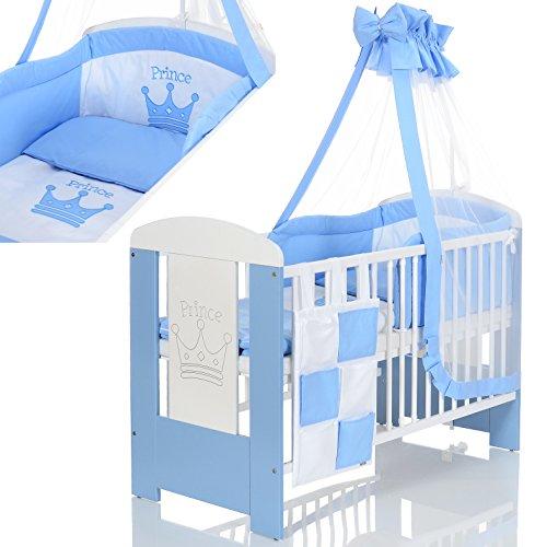 Baby Kinderbett Prinz 120x60 cm weiß blau inkl 9 Teile Bettwäsche Komplett-Set Matratze (Bettwäsche-set Für Ein Kinderbett)