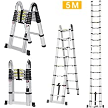 Finether-5M Escaleras Plegable y Telescópica (Portátil,Multi-Propósito,Extensible,Aluminio,con Bisagras,Certificada por EN131,Capacidad de 150kg,Perfecta para Casa,Desván y