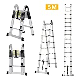 Finether 5M Aluminum Telescoping Extension Ladder Portable Multi-Purpose Folding A-Frame Ladder with Hinges, 150 kg Load Capacity for Home Loft Office