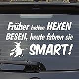 Auto Aufkleber in Wunschfarbe Früher Hatten Hexen Besen Heute Fahren Sie! für Smart Fans Heckscheibenaufkleber 55x29 cm