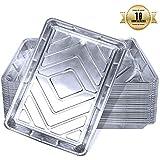 Bandejas De Aluminio Desechables Con Tapa, Bandejas De Papel Aluminio Para Hornear, Bandejas De Papel Aluminio Descartables Para Cocinar, Recalentar (Paquete De 10)