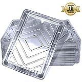 Teglie alluminio usa e getta, contenitori da cucina di alluminio per alimenti, Vaschette alluminio per cucinare al forno, conservare o congelare alimenti (10 pezzi) 32cm x 20cm x 3.3cm