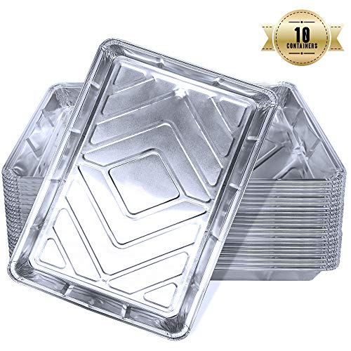 Aluschalen rechteckig, Einweg Schalen aus Aluminiumfolie zum Backen, Kochen, Gefrieren und Aufbewahren von Lebensmitteln, Grillschalen mit Deckel, Alu-Tropfschalen (10 Stück)
