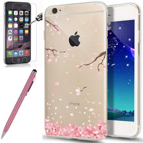 Kompatibel mit iPhone 6S Hülle,iPhone 6 Hülle,[Hartglas Schutzfolie Stylus] Cherry Blossom Crystal Clear Transparent TPU Silikon Handyhülle Durchsichtig Schutzhülle für iPhone 6S/6,Kirschblüte #3 -