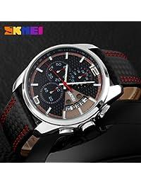 iLove EU - Reloj de pulsera de hombre, sumergible a 30m, correa de cuero, analógico, de cuarzo. Reloj Deportivo con fecha, cronómetro, y aguja del segundero roja.