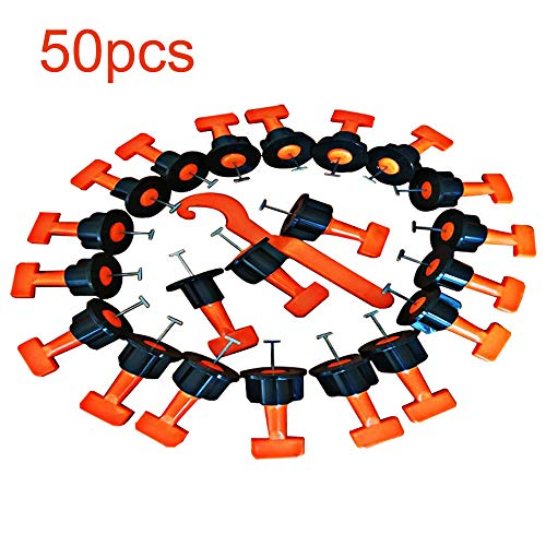 Weehey Kit de Sistema de nivelación de baldosas 50 Piezas Separadores de nivelación de baldosas Nivelación de baldosas Pisos Nivelador de Pared Sistema de localizador Nivelador de cerámica