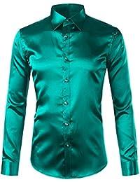 31b67955cfb37 Pragmaticv Seda Camisa de satén de los Hombres de Manga Larga Slim Fit para Hombre  Camisas